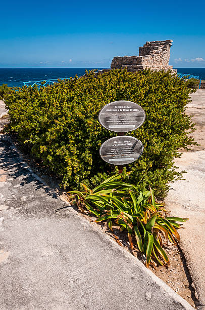 Mayan temple dedicated to goddess Ixchel on Isla Mujeres Yucatan Mayan temple dedicated to goddess Ixchel on Isla Mujeres Yucatan peninsula Mexico on Punta Sur the most southern point on the island. It's very beautiful and there are many iguanas here. naya rivera stock pictures, royalty-free photos & images