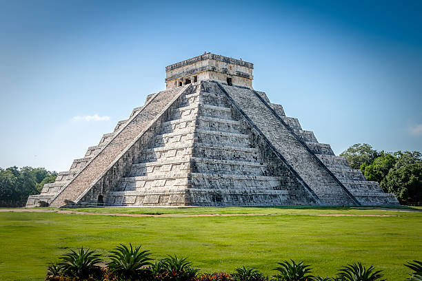 mayan temple pyramid  of kukulkan - chichen itza, yucatan, mexico - landmarks stock photos and pictures