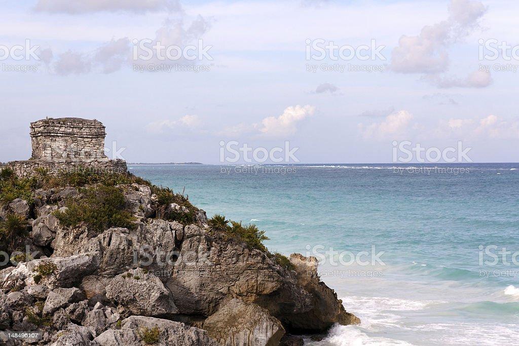 Mayan Tower above the Ocean at Tulum stock photo