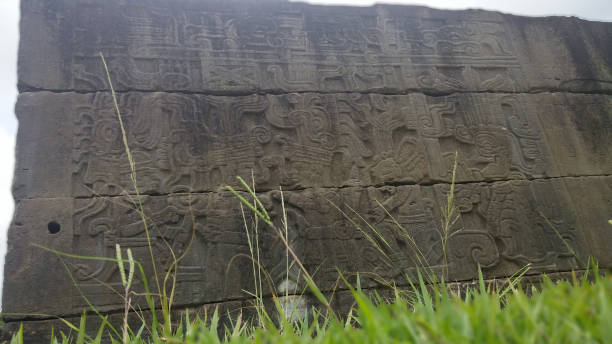 Mayan wall seen from a low angle A Mayan wall seen from a low angle overlooking some grass naya rivera stock pictures, royalty-free photos & images