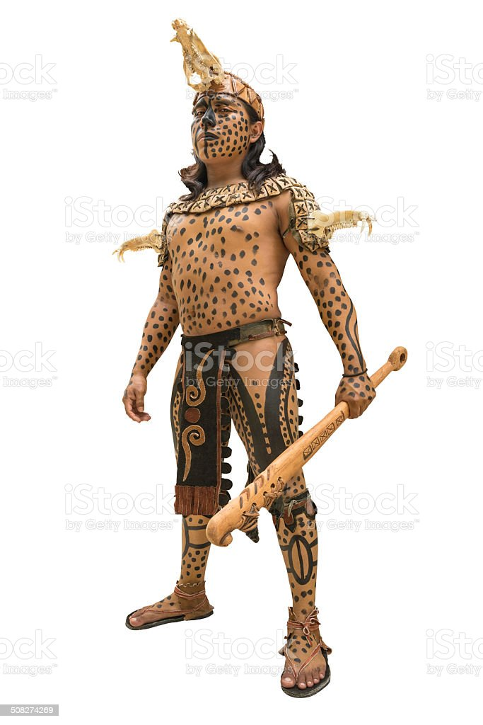 Mayan warrior in Yucatan, Mexico stock photo