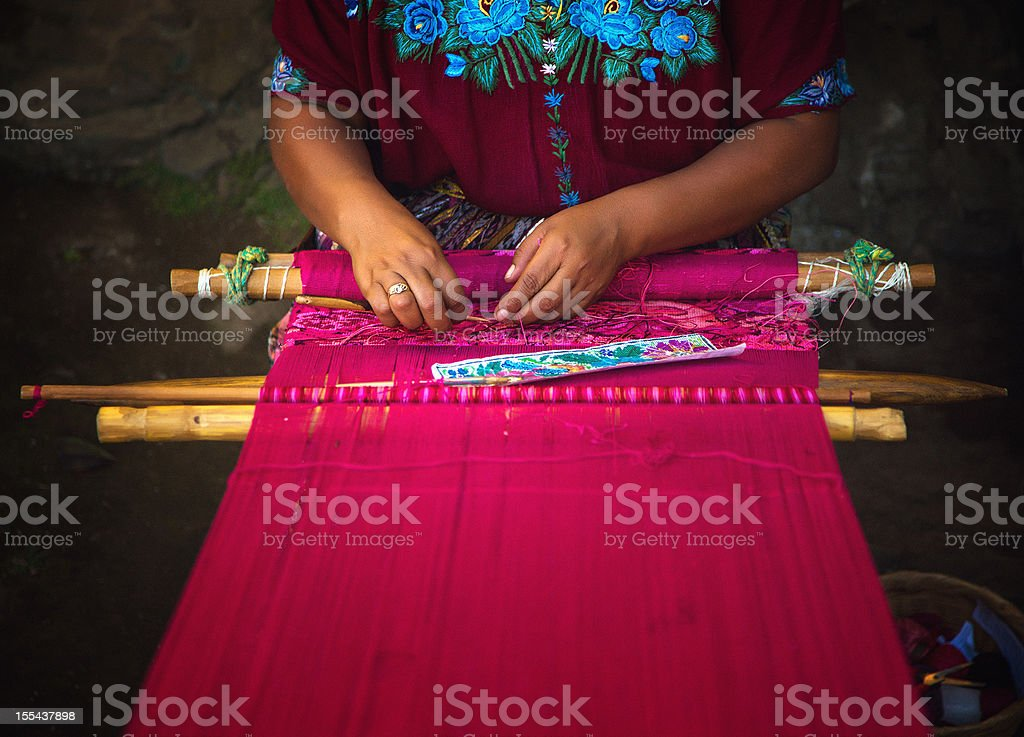 mayan woman weaving on loom royalty-free stock photo