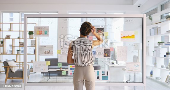 Rearview shot of a young businesswoman scratching her head while writing down ideas on a glass wall in her office