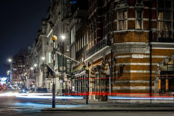 Mayfair in winter evening, London Mayfair in winter evening, London mayfair stock pictures, royalty-free photos & images