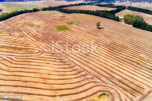 Harvested farmlands with straw lines on hill sides of Mayfield near Oberon town of Central tablelands, AUstralia. Aerial agriculture view.