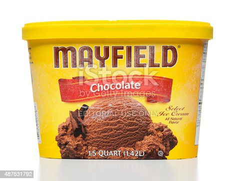 Miami, USA - August 25, 2015: Mayfield chocolate ice cream 1.5 quart jar. Mayfield brand is owned by Mayfield Dairy Farms.