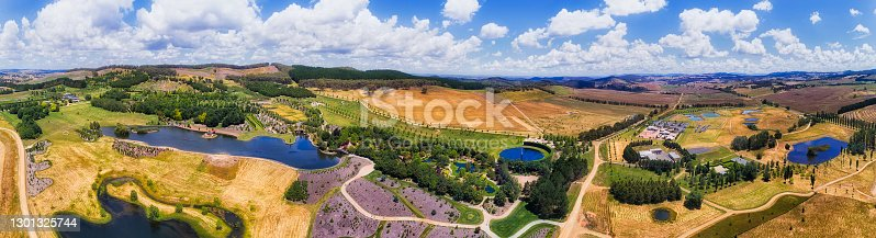 Aerial panorama of agriculture farmlands near Oberon town in Central tablelands of NSW, australia, around Mayfield garden.