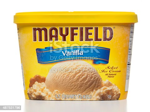 Miami, USA - August 25, 2015: Mayfield vanilla ice cream 1.5 quart jar. Mayfield brand is owned by Mayfield Dairy Farms.