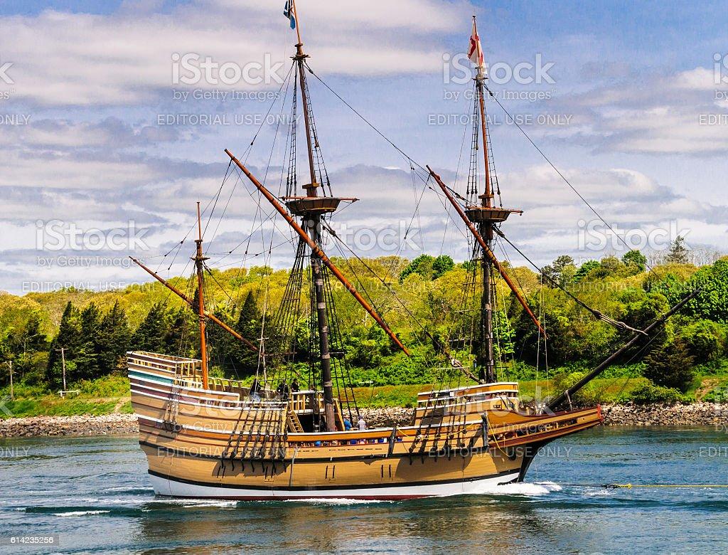 Mayflower Asail stock photo