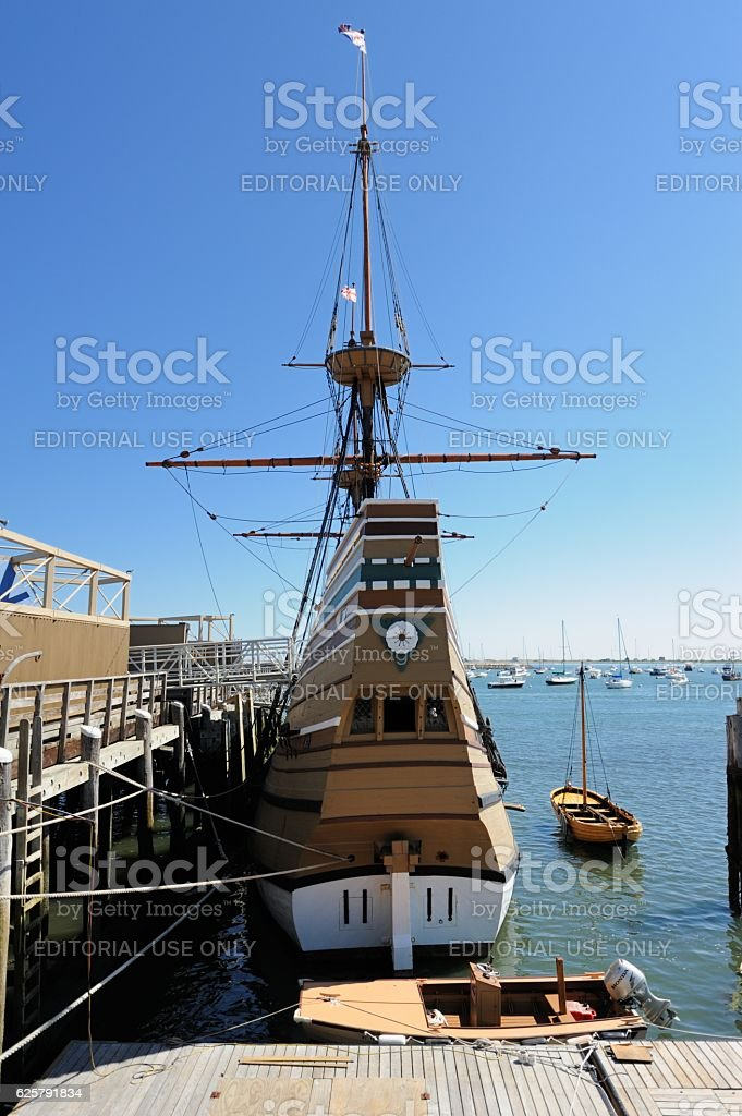Mayflower II in dock at Plymouth Harbor stock photo
