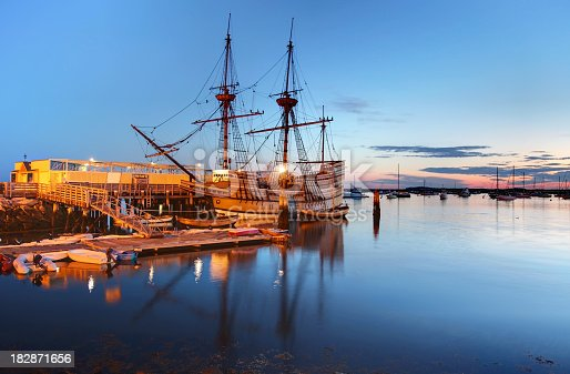 The Mayflower II is a replica of the 17th century ship Mayflower, celebrated for transporting the Pilgrims to the New World. The ship is docked at the State Pier in Plymouth, Massachusetts. Plymouth is known for being