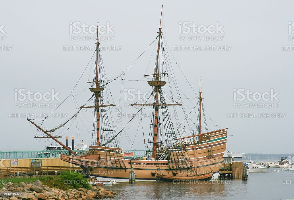 Mayflower II Sailing Ship Replica, Plymouth, Massachusetts, USA. royaltyfri bildbanksbilder