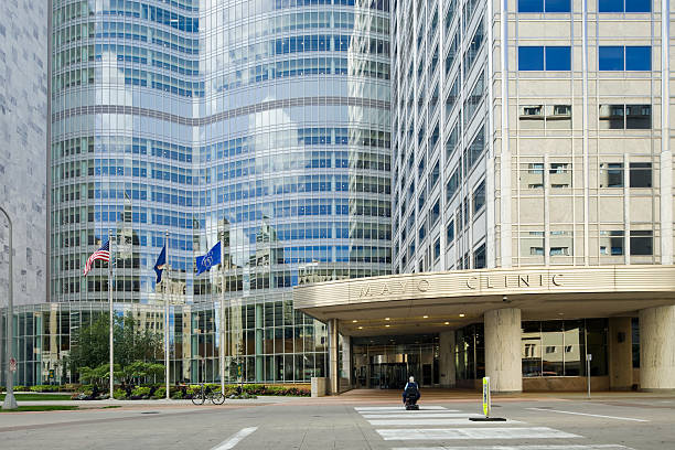 mayo clinic gonda building east entrance - clinic stock photos and pictures