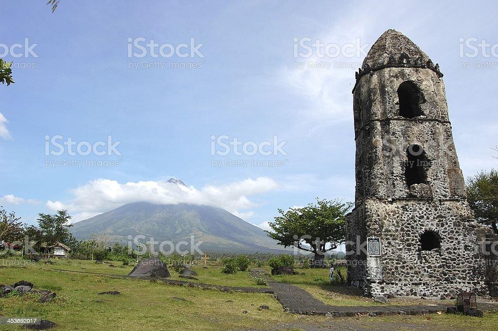 Mayon volcano and Cagsawa ruins, Philippines stock photo