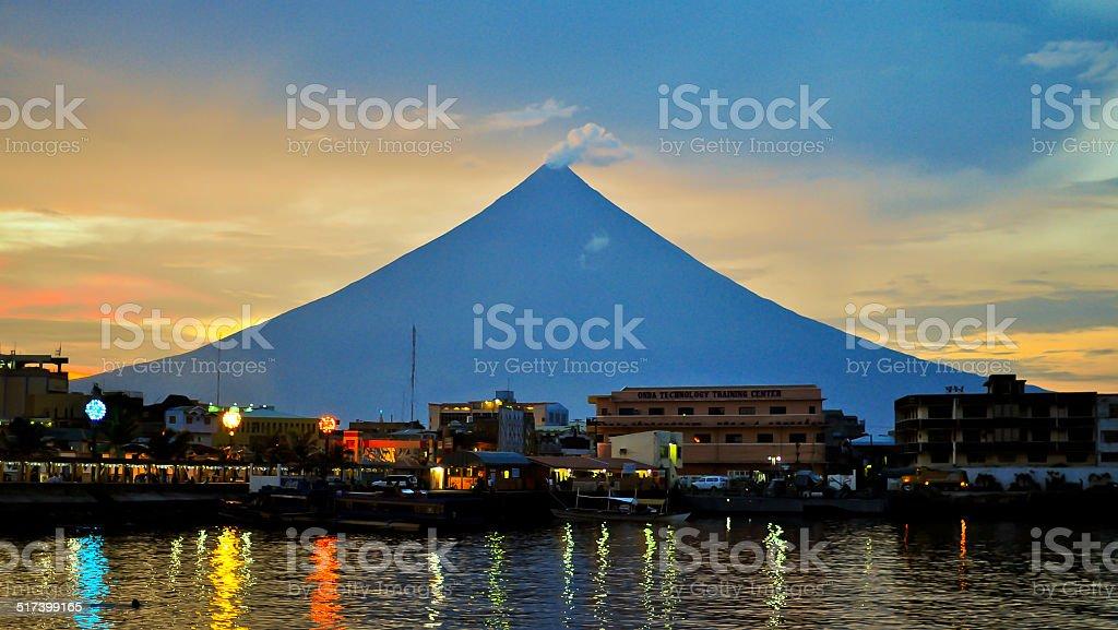 Mayon Volcano At Twilight - Albay Province, Philippines stock photo