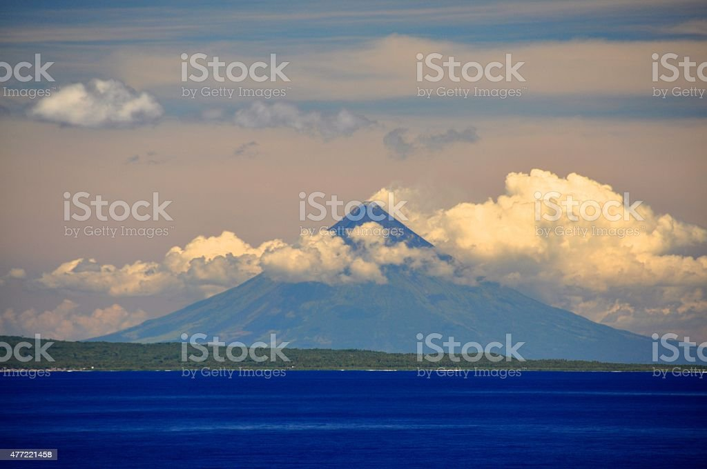 Mayon Volcano Philippines from the Water stock photo