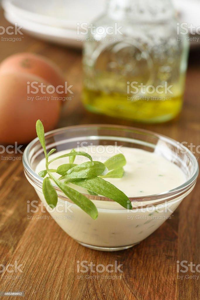Mayonnaise and tarragon stock photo
