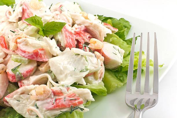mayonnaise salade de fruits de mer - crabe photos et images de collection