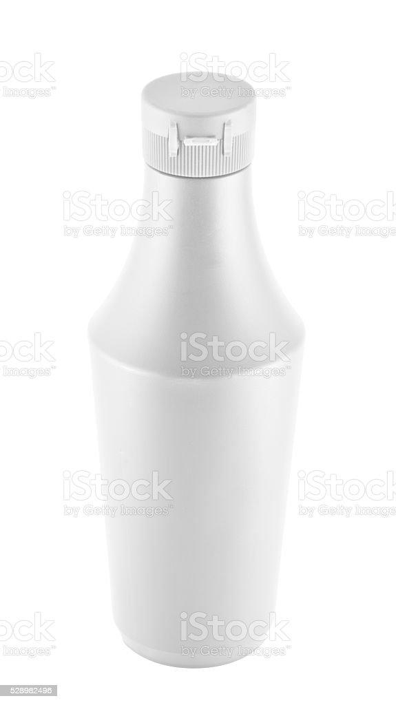Mayonnaise souce platic bottle over white background stock photo