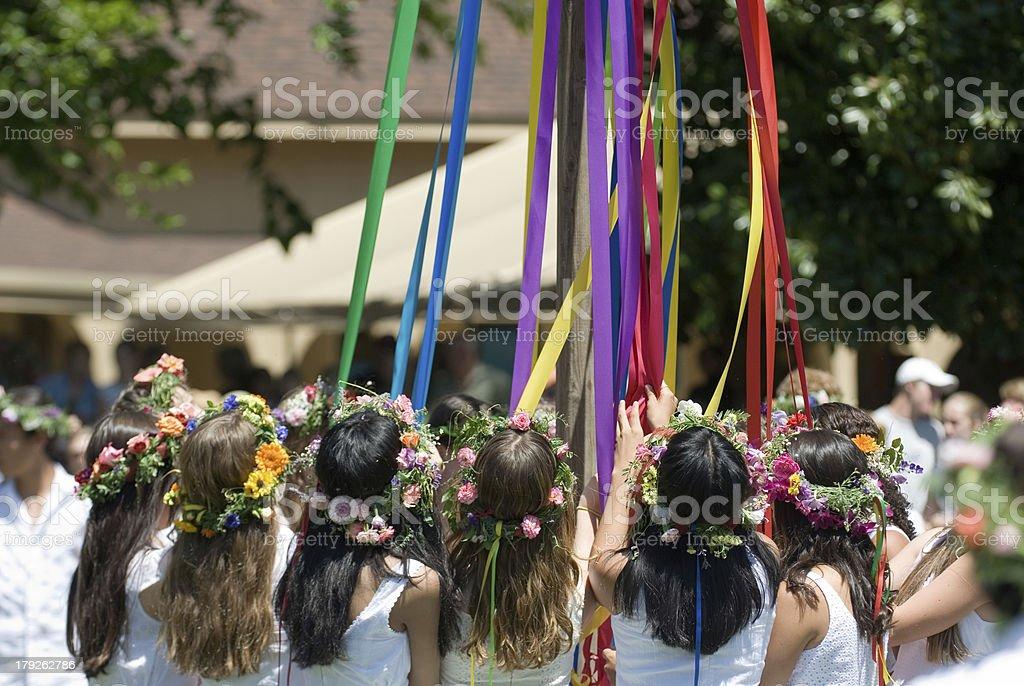 Maypole Dancers stock photo