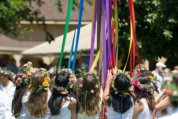maypole dancers - labor day stock pictures, royalty-free photos & images