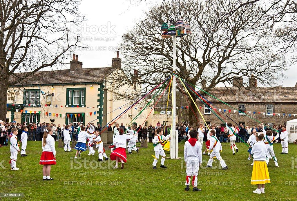 Maypole Dancing at Long Preston stock photo