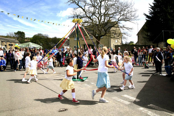 Maypole dancing. stock photo