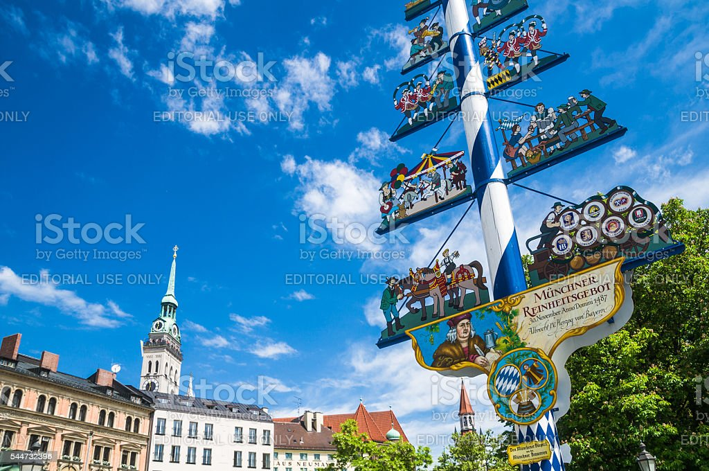 Maypole of Munich stock photo