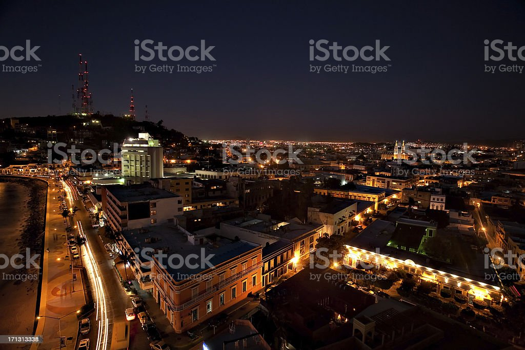 Mazatlan at Night stock photo