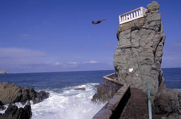 Mazatlan, Mexico cliff diver. stock photo
