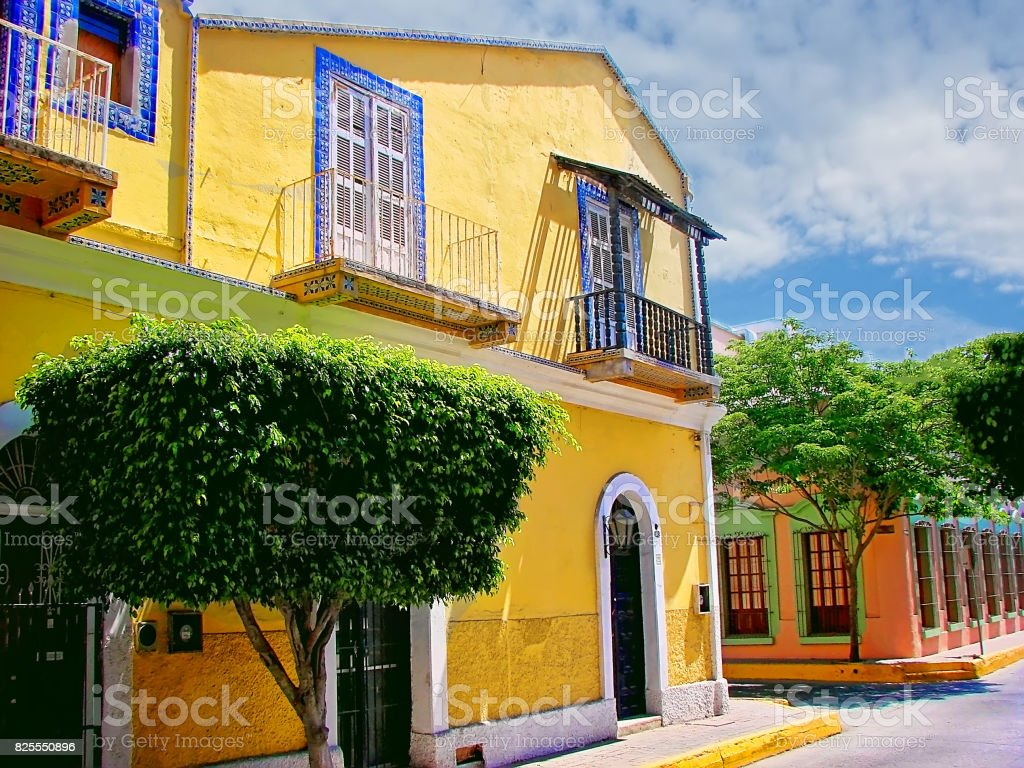 Mazatlan streets - old city stock photo