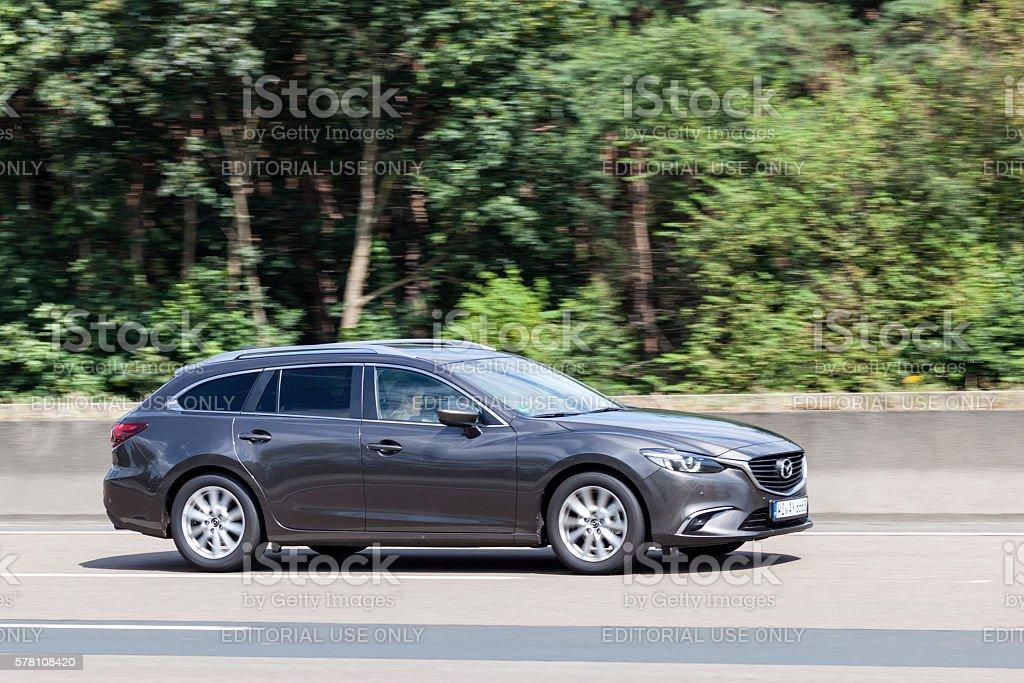 Mazda 6 Series Estate on the Road stock photo