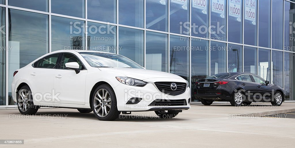Mazda 6 Vehicles in Front of Dealership stock photo