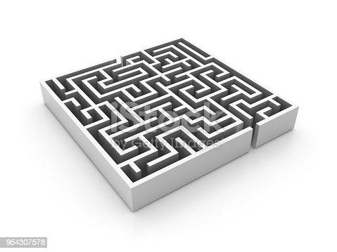 108688372 istock photo 3D Maze - 3D Rendering 954307578