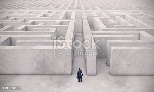 A businessman navigating through a maze, can be used business strategy, business challenge concepts. ( 3d render )