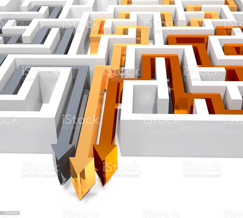 Maze and three arrows on white background. stock photo