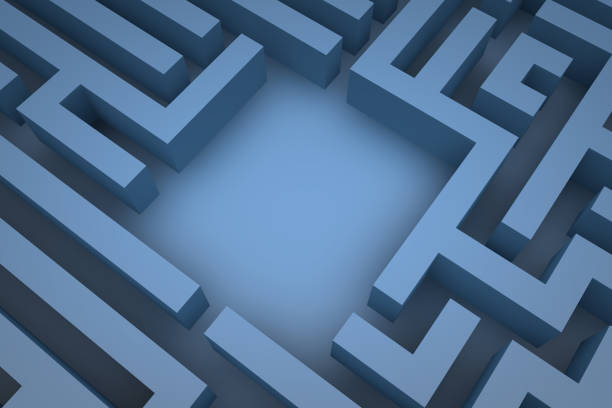 3d maze background - maze stock photos and pictures