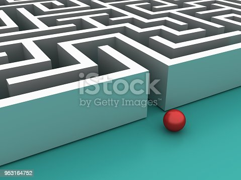 954744070 istock photo Maze Entrance with Red Ball - 3D Rendering 953164752