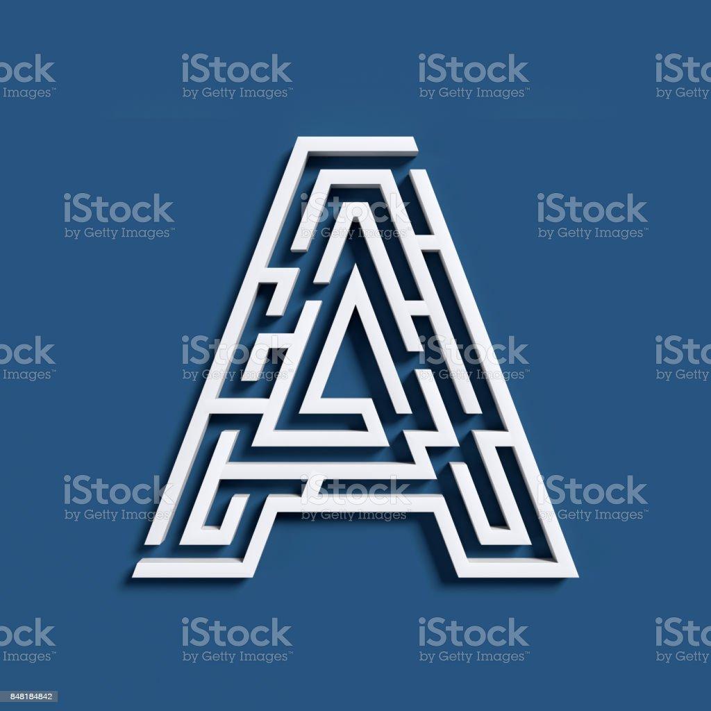 Maze font letter A stock photo