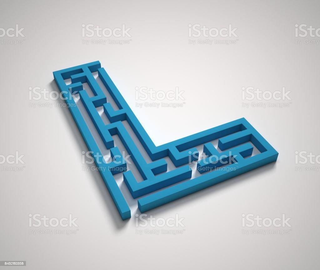 Maze font letter L stock photo