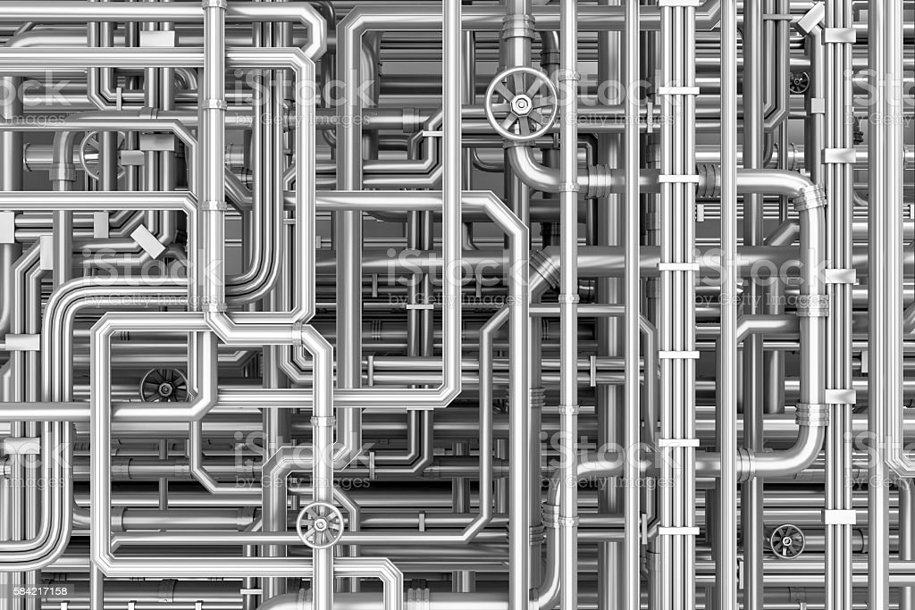 Maze of metal pipes background stock photo