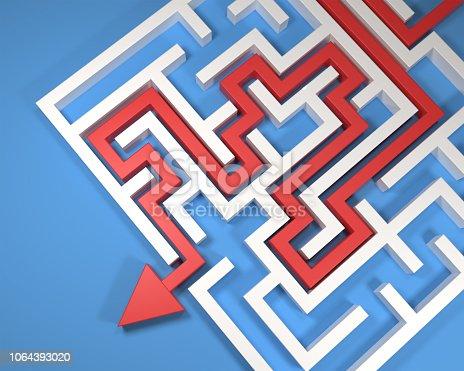 istock Maze on blue - Stock image 1064393020