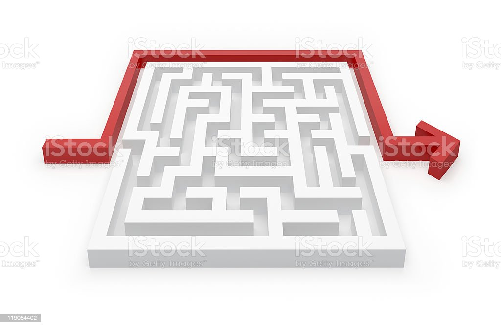 Maze Puzzle and Arrow - Easy way royalty-free stock photo
