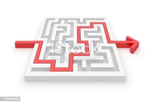 istock Maze Puzzle whit Solution 108688356