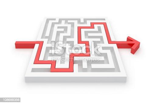 954744070 istock photo Maze Puzzle whit Solution 108688356