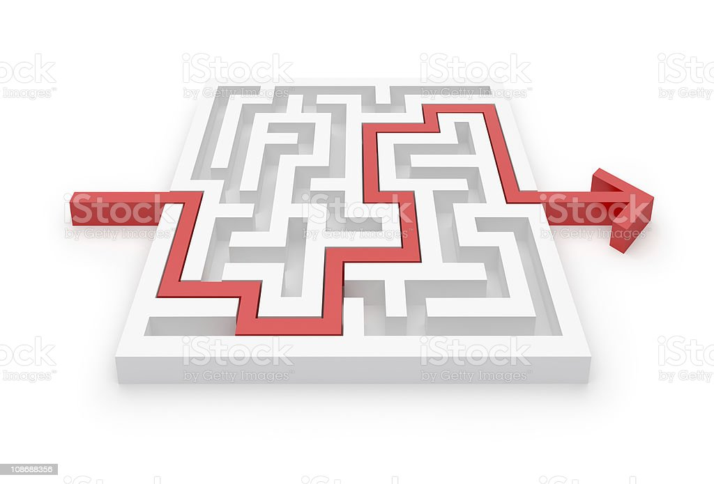 Maze Puzzle whit Solution stock photo