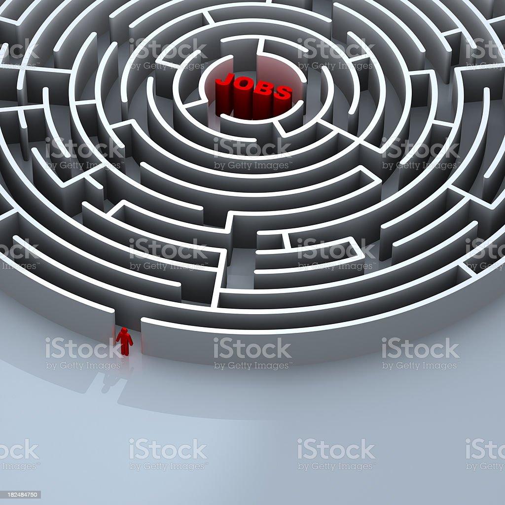Maze to Jobs royalty-free stock photo