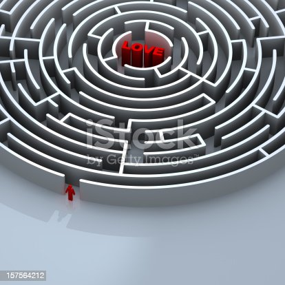 Circular maze with LOVE in the middle. A figure of a man standing outside about to enter the maze. Concept: Finding true LOVE is hard.