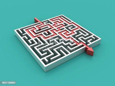 istock Maze with Arrow Path Solution - 3D Rendering 953156664