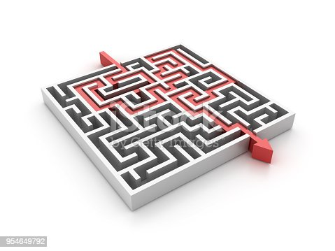 istock Maze with Arrow Path Solution - 3D Rendering 954649792